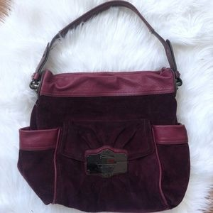 B MAKOWSKY Maroon Red Suede Leather Purse Bag